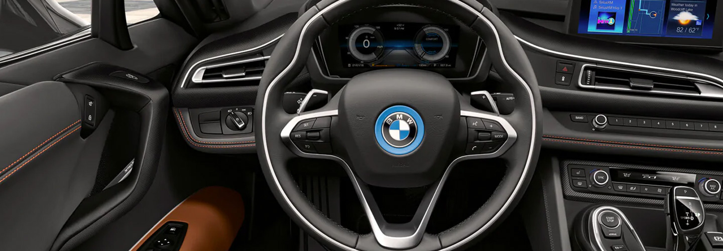 Interior of the 2019 BMW i8 available at Vista BMW in Coconut Creek, FL