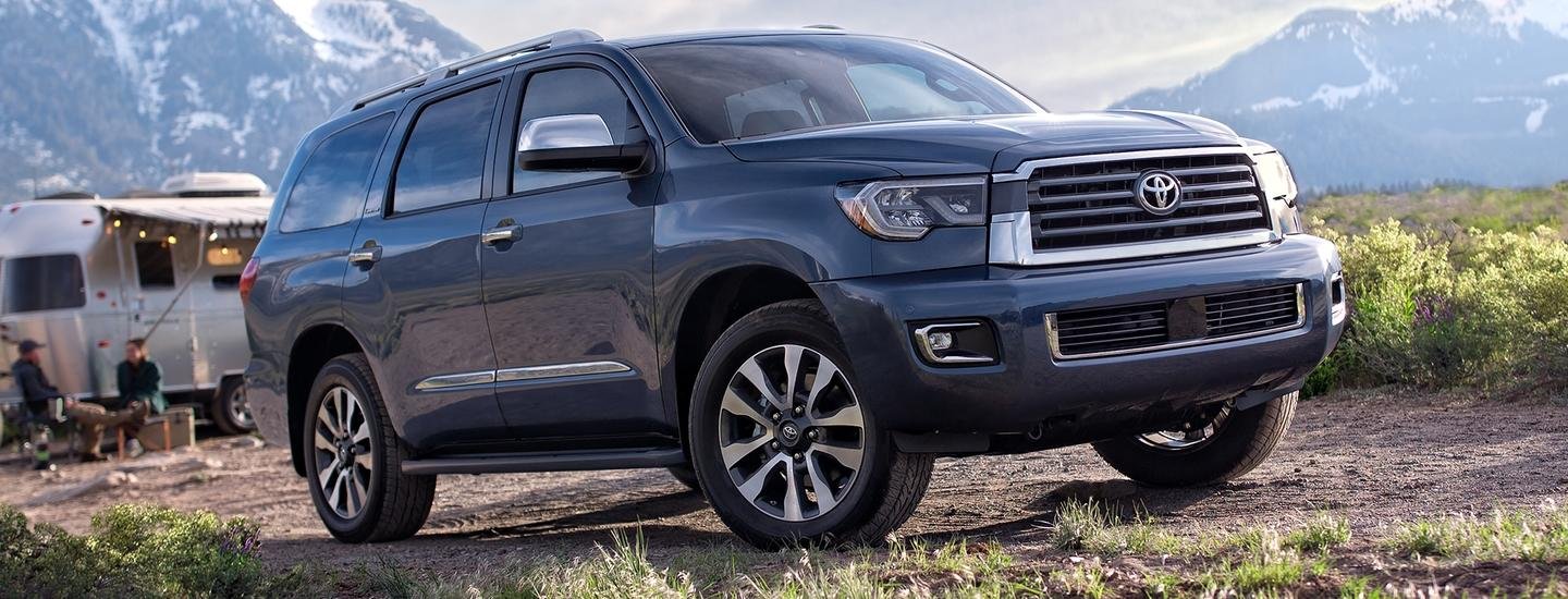 2020 Toyota Sequoia parked on a campsite