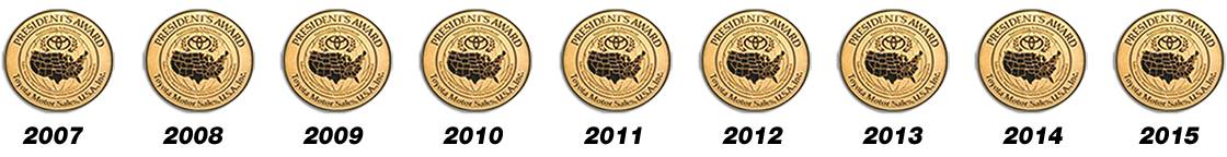 Toyota of Tampa Bay was awarded the President's Award multiple times in Wesley Chapel, FL