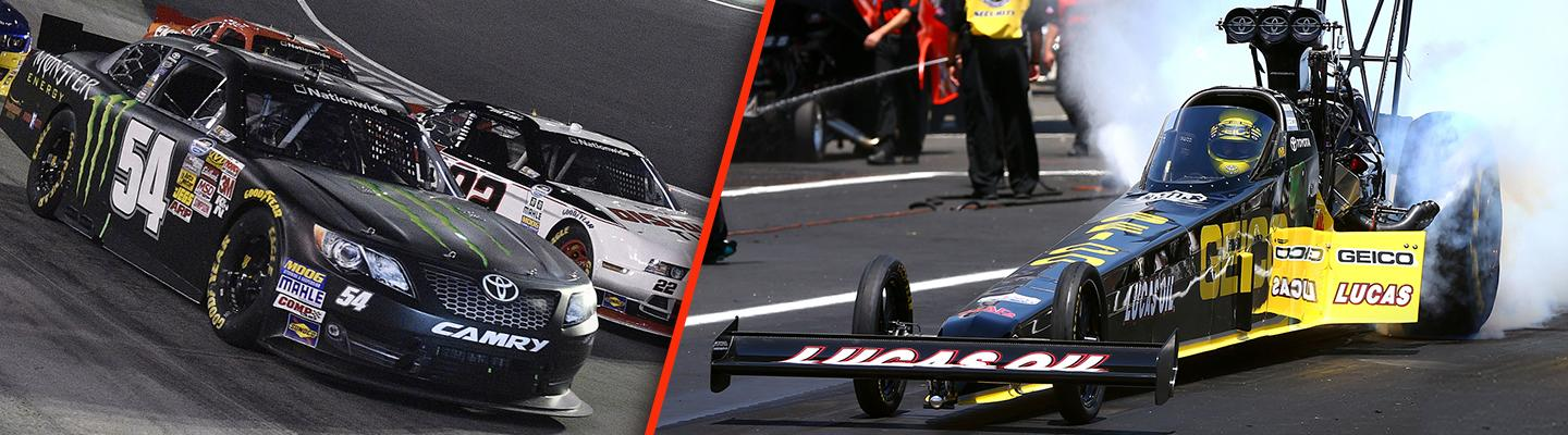 Split image of Toyota race truck and Toyota F-1 car