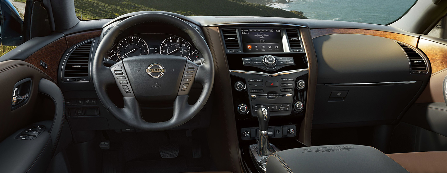 Safety features and interior of the 2019 Nissan Armada - available at our Nissan dealership near Oklahoma City, OK.