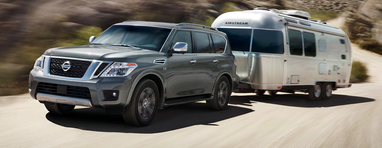 2019 Nissan Armada pulling camper driving