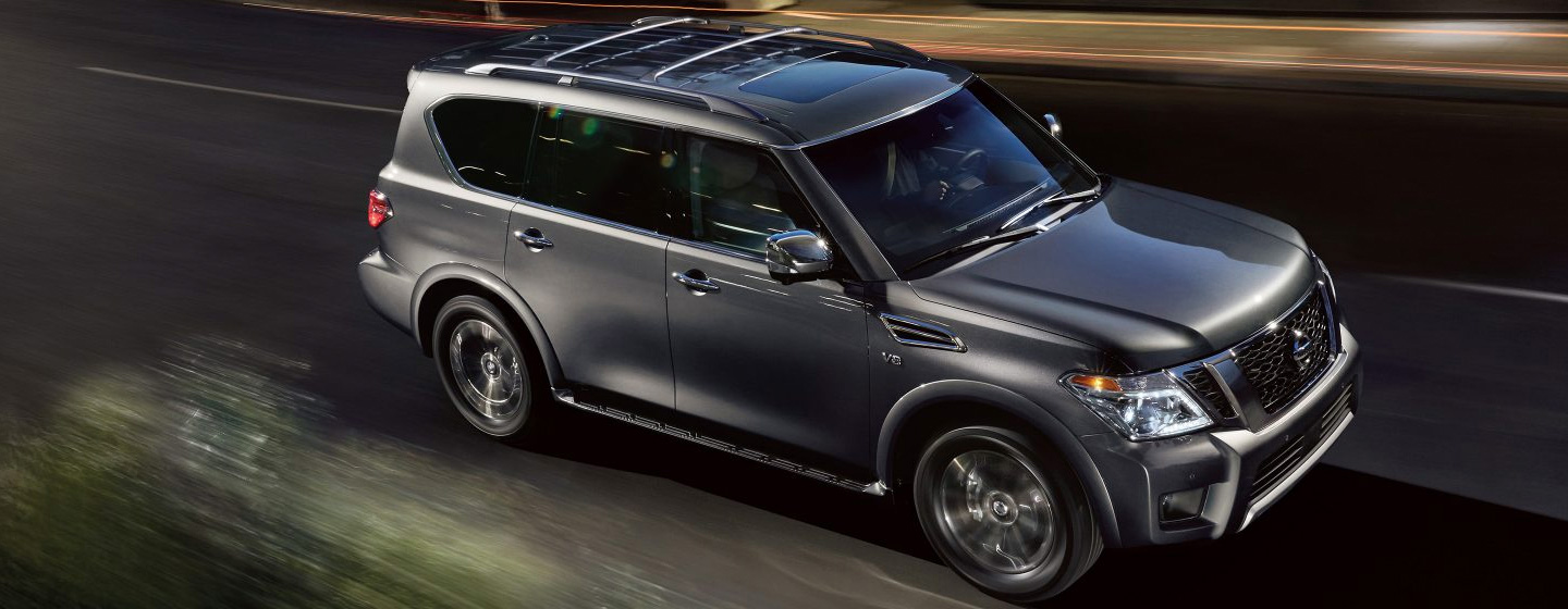 2019 Nissan Armada top front view driving in the city