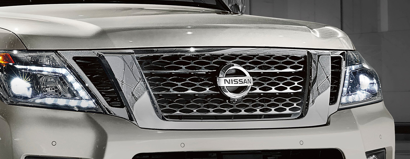 2019 Nissan Armada pulling camper front view
