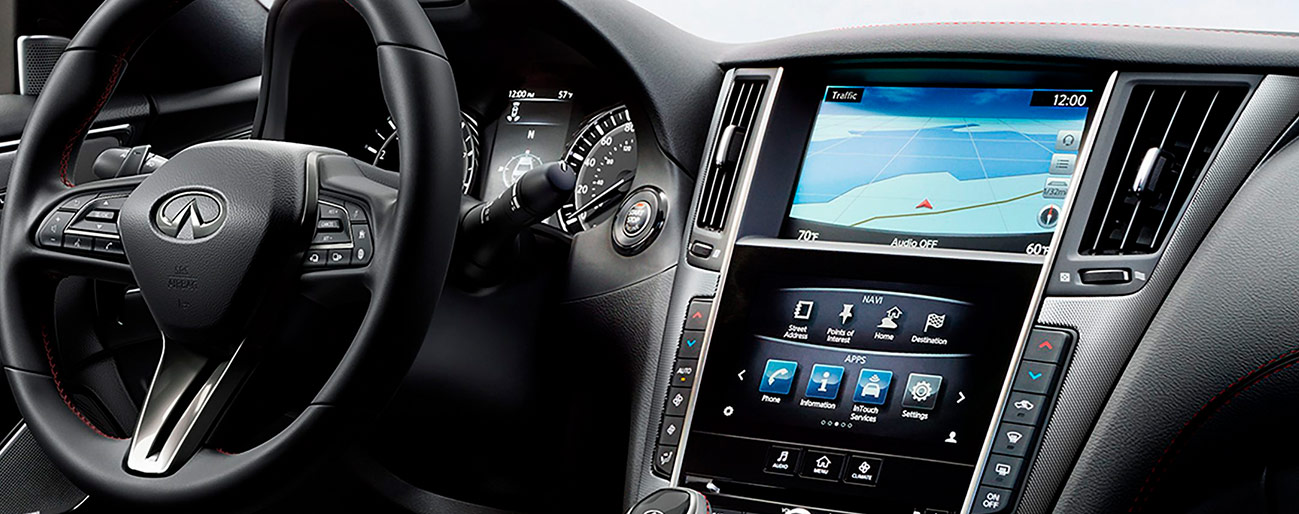 Safety features and interior of the 2019 INFINITI Q50 - available at our INFINITI dealership in Miami, FL.