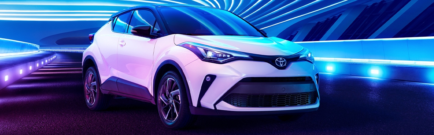 Exterior of a white 2020 Toyota C-HR