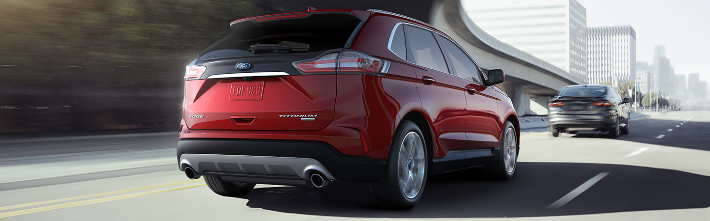 Rear of the 2019 Ford Edge in motion near Scranton, PA