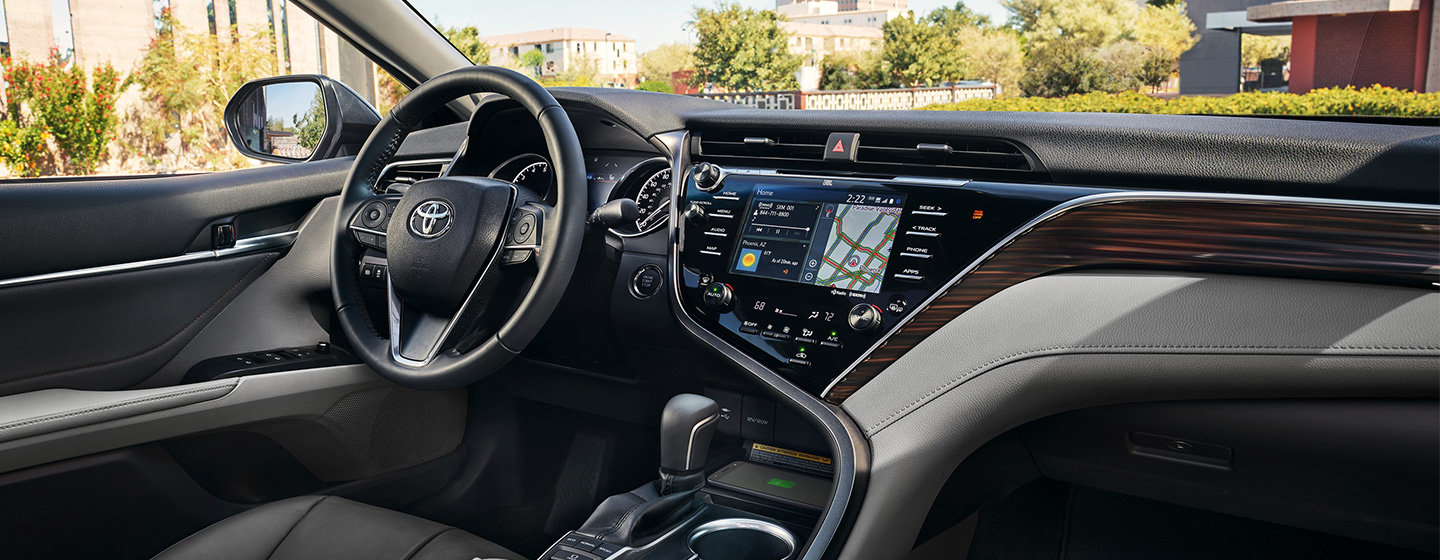 Safety features and interior of the 2019 Toyota Camry is for sale at our Toyota  dealership near Gainesville, High Springs.