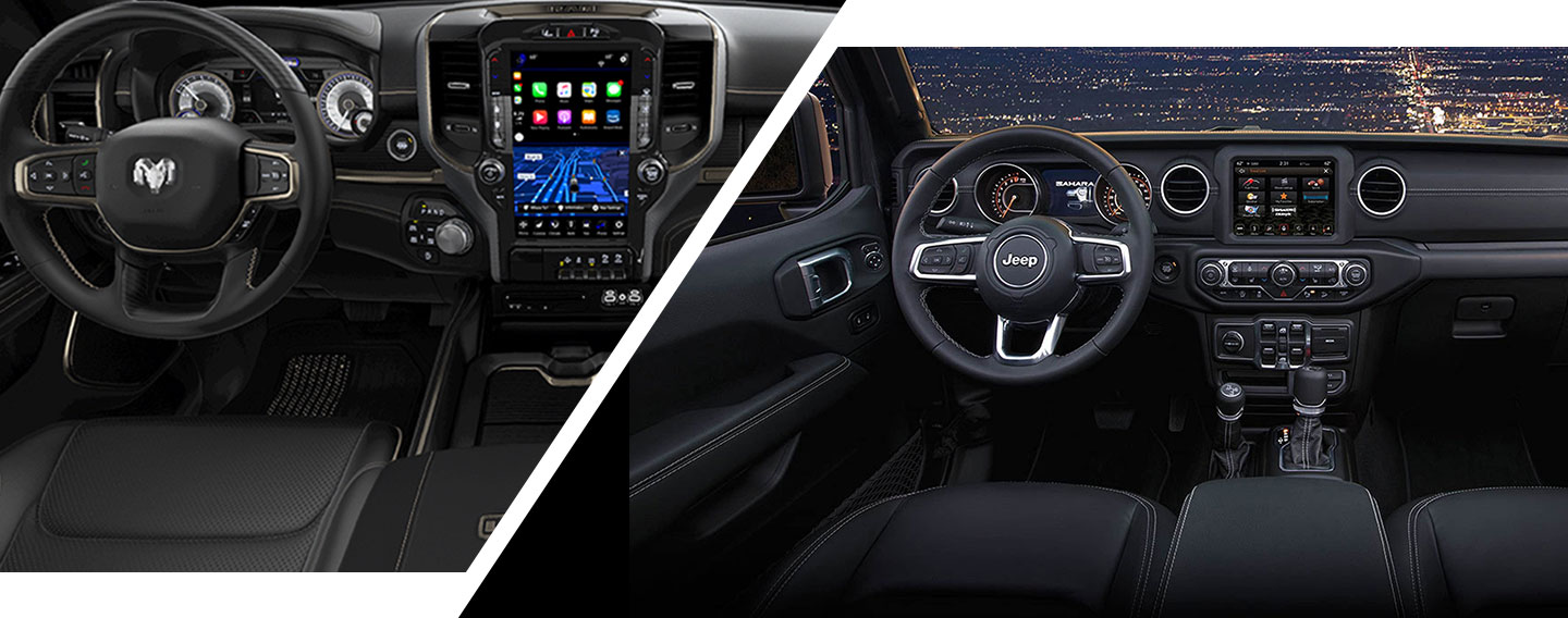 Interior of the 2019 RAM 1500 & 2019 Jeep Wrangler for sale at our dealership in lake city.