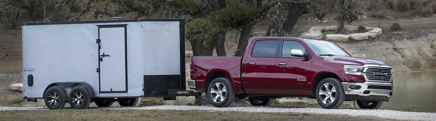 Side view of the 2020 RAM 1500 towing something