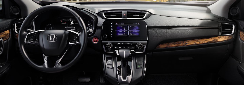 Steering wheel and entertainment center of the 2020 Honda CR-V