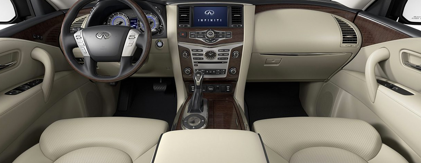 Safety features and interior of the 2019 INFINITI QX80 - available at our INFINITI dealership in Miami, FL