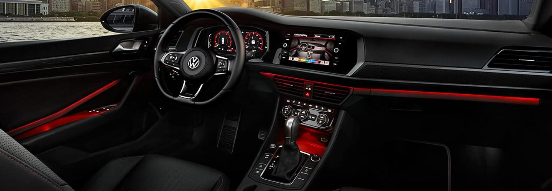 Drivers side perspective of the 2019 Volkswagen Jetta's steering wheel