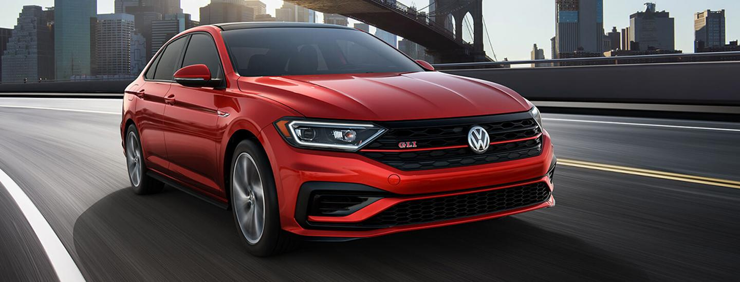 Front view of the 2019 Volkswagen Jetta GLI in motion