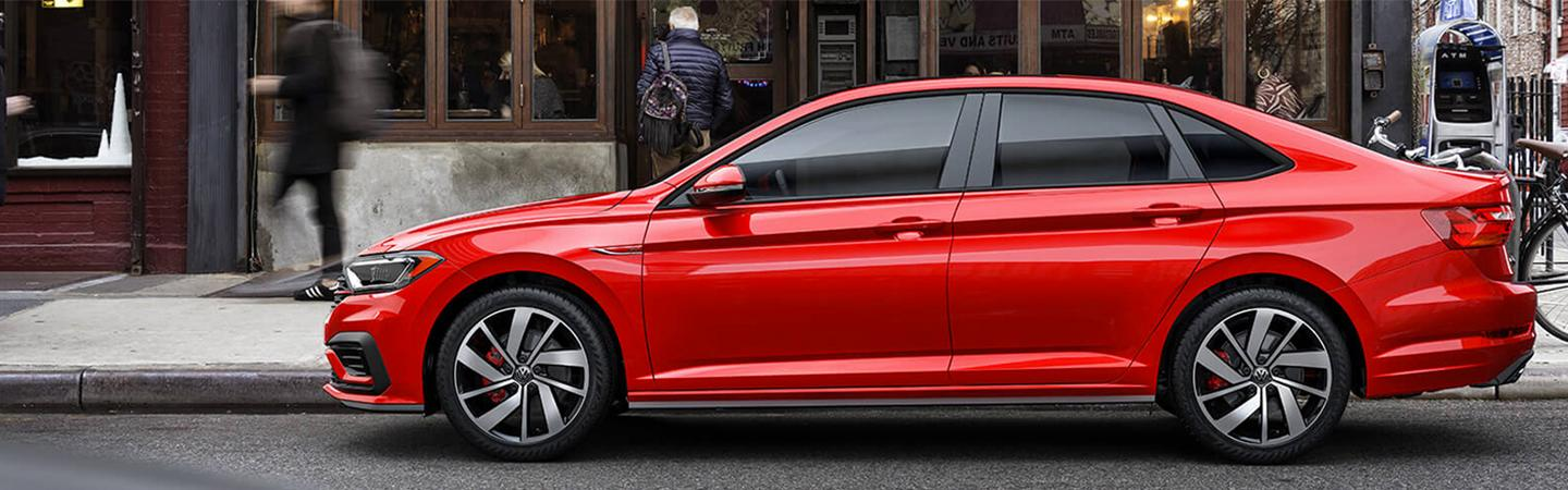 Side view of the 2019 Volkswagen Jetta GLI parked on the side of the street