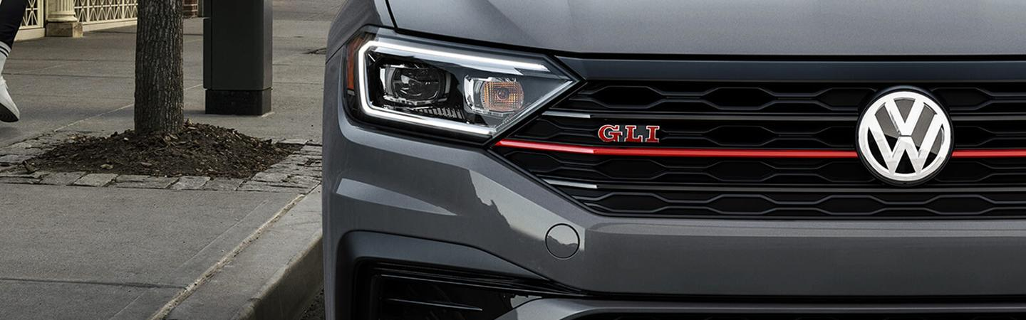 Front view of the 2019 Volkswagen Jetta GLI with a close up of the headlights