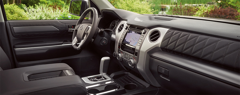 Safety features and interior of the 2019 Toyota Tundra for sale at our Toyota dealership in Lake City.