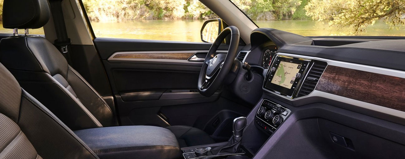 Safety features and interior of the Volkswagen Atlas and Volkswagen Tiguan - available at our Volkswagen dealership near Miami, FL.