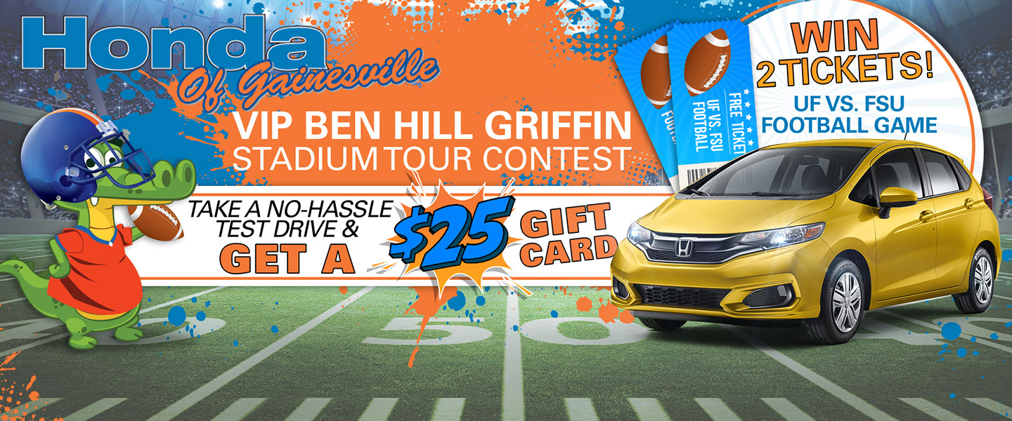 VIP Ben Hill Griffin Stadium Tour Contest - Take a no-hassle test drive and get a $25 Gift Card