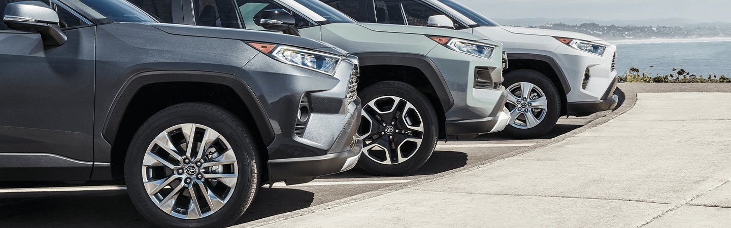 2020 Toyota RAV4 vehicles parked in a parking lot