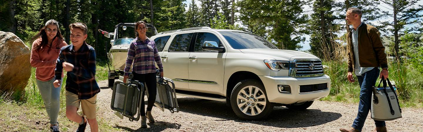 2020 Toyota Sequoia parked on a dirt road