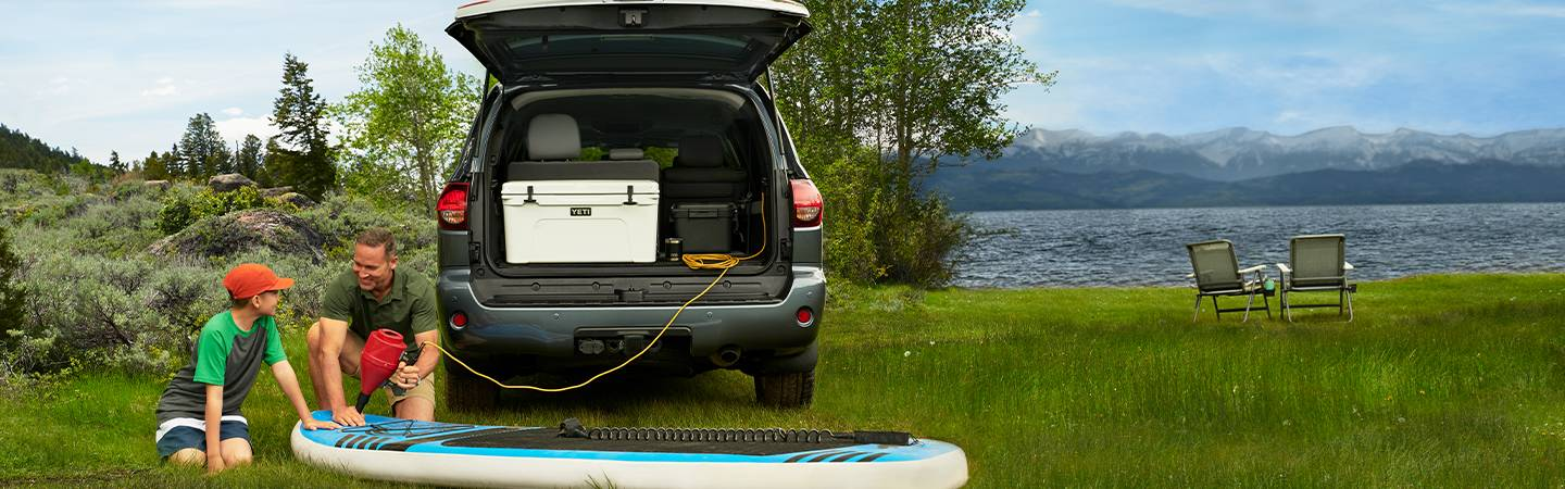 2020 Toyota Sequoia with trunk open