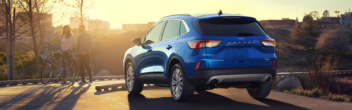 Rear view of the 2020 Ford Escape parked outdoors