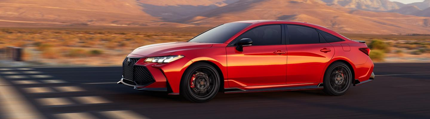 Red 2020 Toyota Avalon TRD in motion