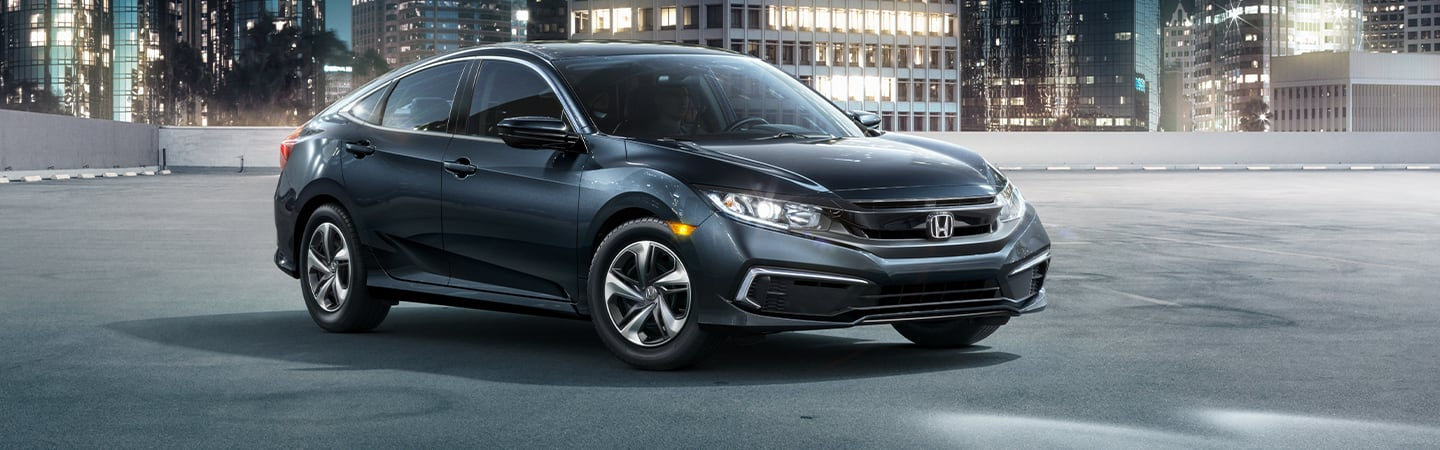 Front view of the 2020 Honda Civic parked outside