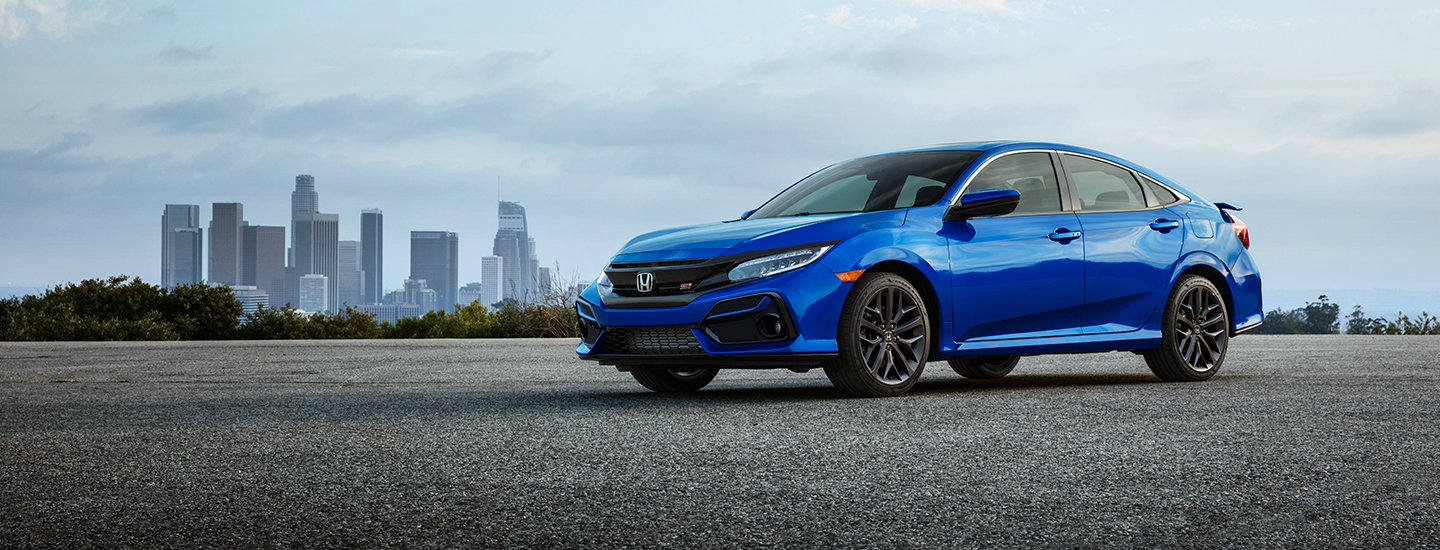Side view of a blue 2021 Honda Civic