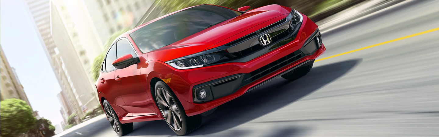 Front view of a red 2021 Honda Civic