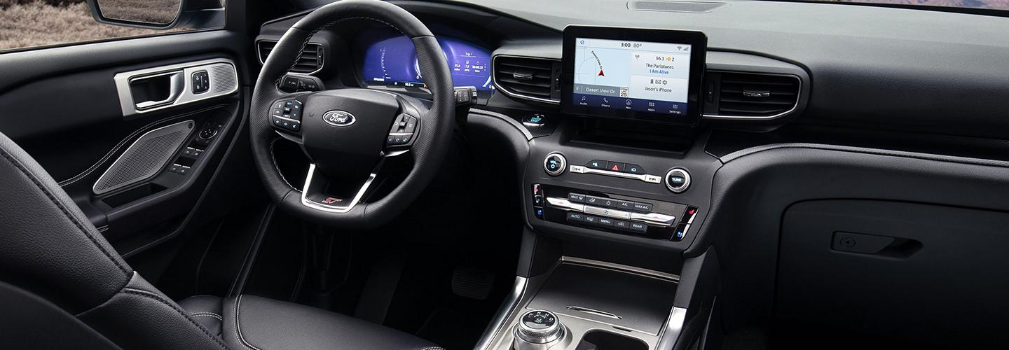 Driver side perspective of the steering wheel inside the 2020 Ford Explorer