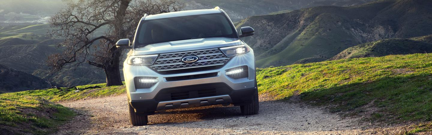 Front view of the 2020 Ford Explorer driving up hill