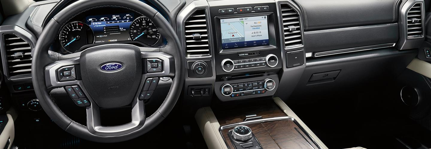 Drivers side perspective and steering wheel of the 2020 Ford Expedition