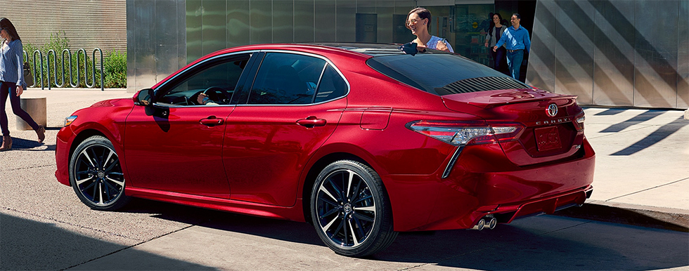 Exterior of the 2019 Toyota Camry - available at our Toyota dealership in Tampa Bay.
