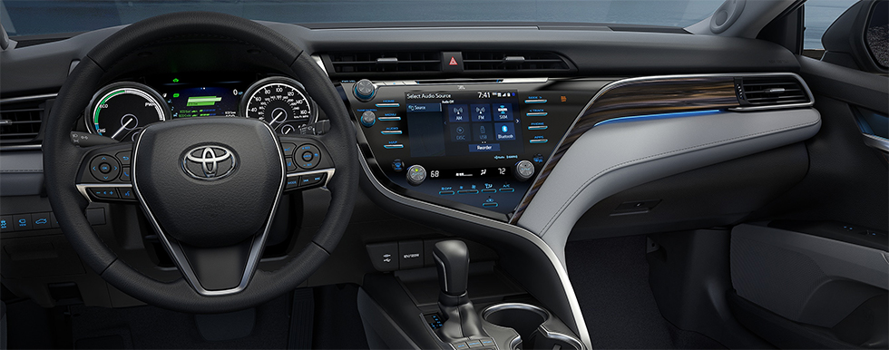 Safety features and interior of the 2019 Toyota Camry - available at our Toyota dealership in Tampa Bay.