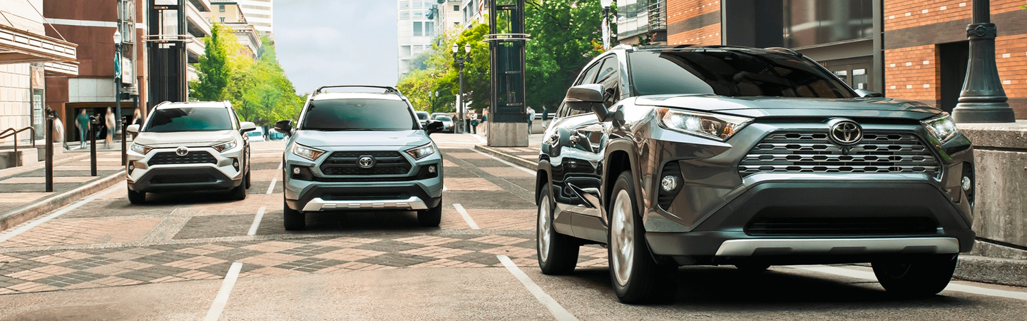 Front view of a 2021 Toyota RAV4 in motion