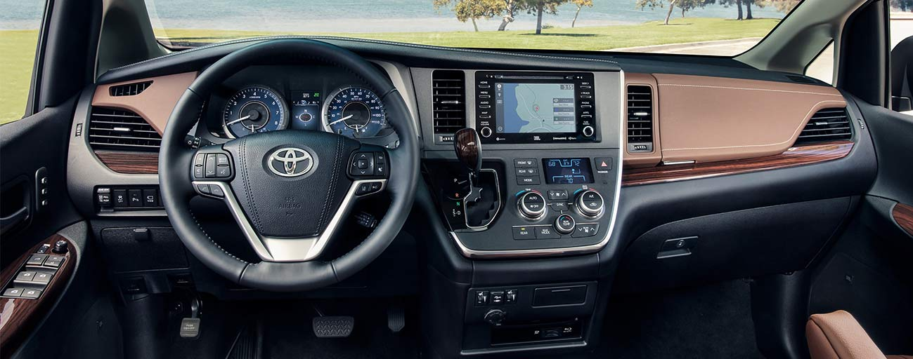 Safety features and interior of the 2019 Toyota Sienna for sale at our Toyota dealership in Tampa