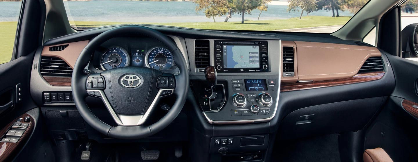 Safety features and interior of the 2019 Toyota Sienna - available at our Toyota dealership in Tampa.
